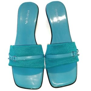 Maripé blue sandals with kitten wedges size 7